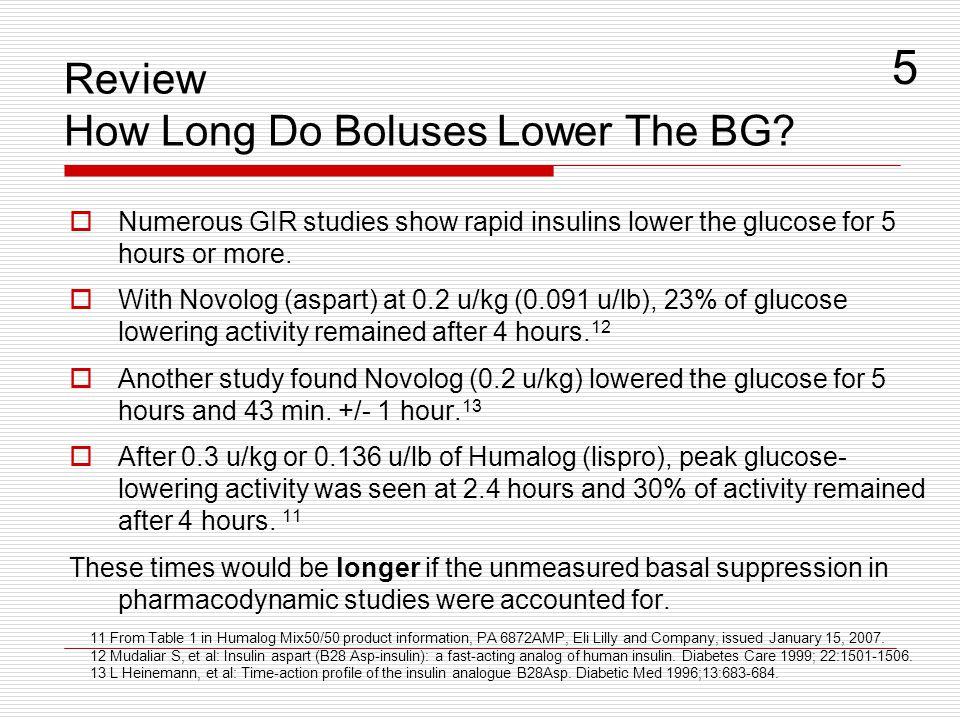Review How Long Do Boluses Lower The BG.