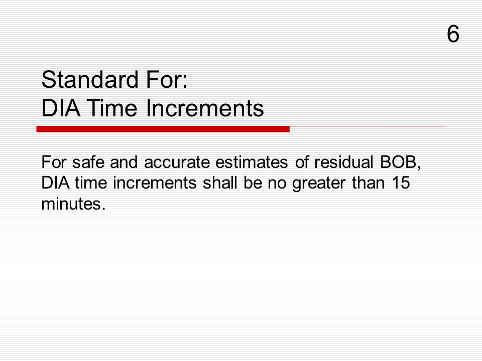 For safe and accurate estimates of residual BOB, DIA time increments shall be no greater than 15 minutes.