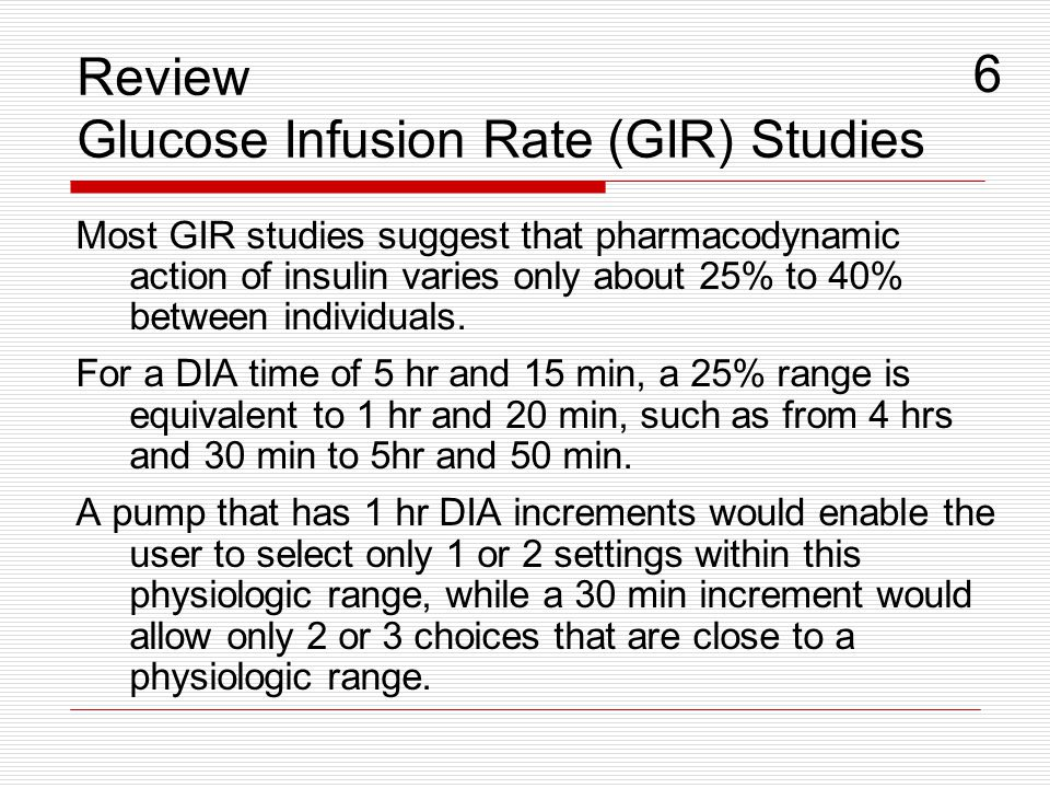 Most GIR studies suggest that pharmacodynamic action of insulin varies only about 25% to 40% between individuals. For a DIA time of 5 hr and 15 min, a