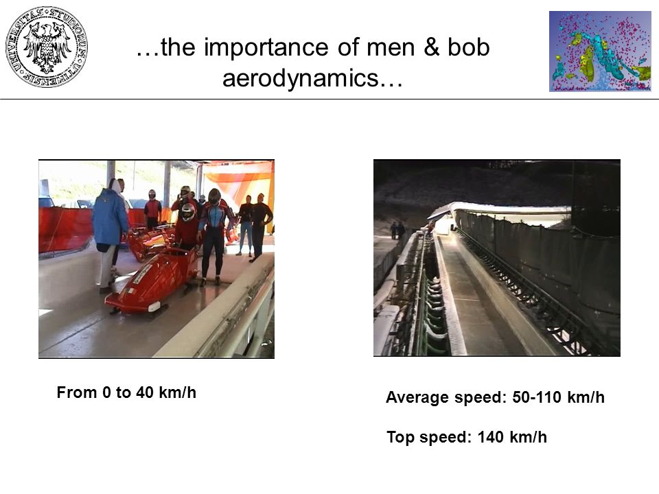 …the importance of men & bob aerodynamics… From 0 to 40 km/h Average speed: 50-110 km/h Top speed: 140 km/h