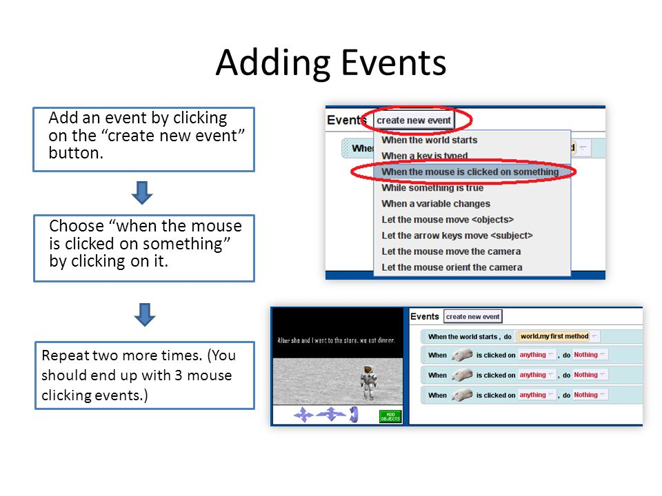 Adding Events Add an event by clicking on the create new event button.