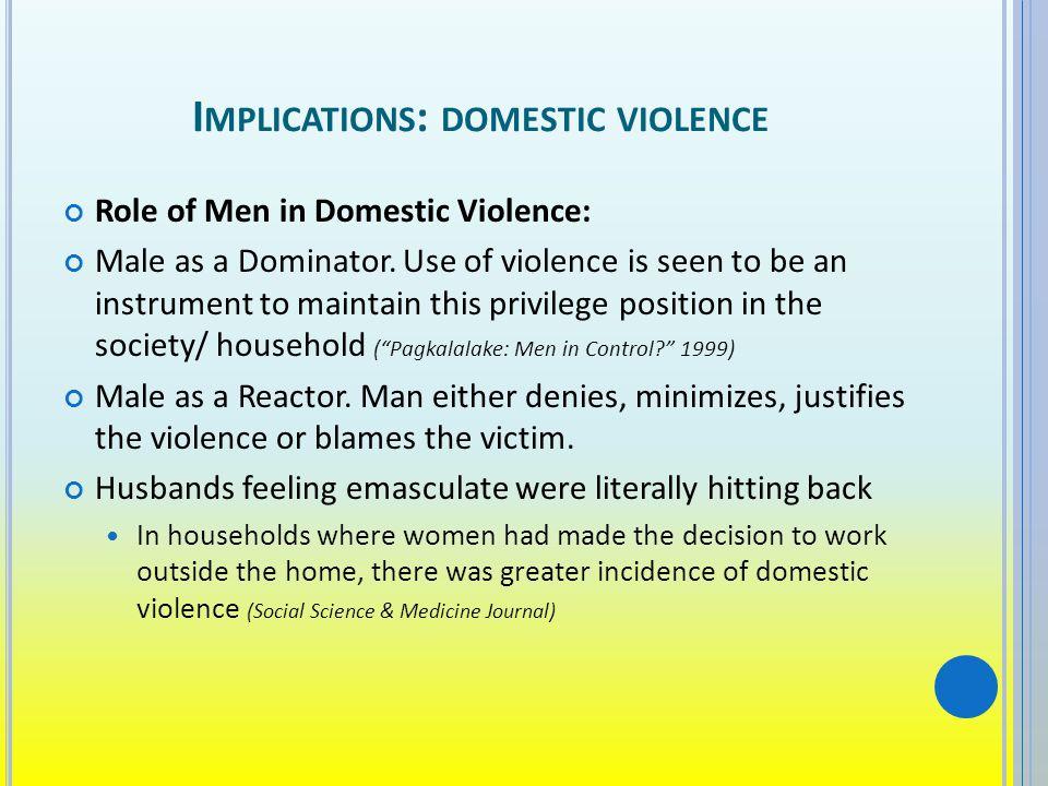 I MPLICATIONS : DOMESTIC VIOLENCE Role of Men in Domestic Violence: Male as a Dominator.