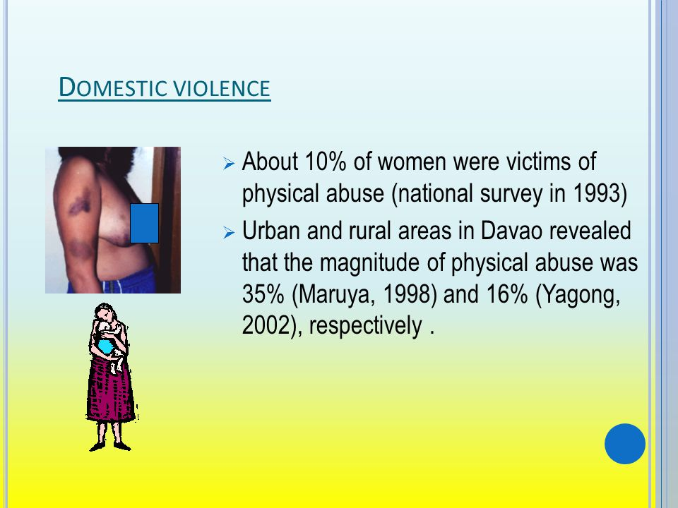 D OMESTIC VIOLENCE About 10% of women were victims of physical abuse (national survey in 1993) Urban and rural areas in Davao revealed that the magnitude of physical abuse was 35% (Maruya, 1998) and 16% (Yagong, 2002), respectively.