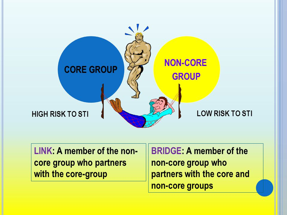 CORE GROUP HIGH RISK TO STI NON-CORE GROUP LOW RISK TO STI LINK: A member of the non- core group who partners with the core-group BRIDGE: A member of the non-core group who partners with the core and non-core groups