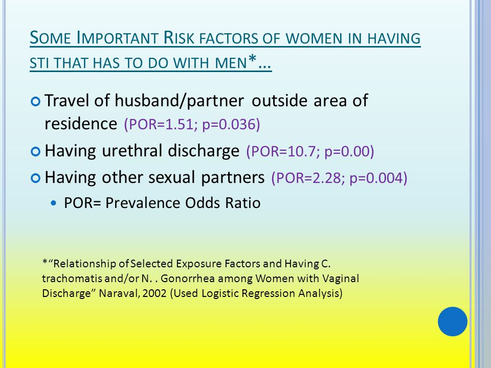 S OME I MPORTANT R ISK FACTORS OF WOMEN IN HAVING STI THAT HAS TO DO WITH MEN *… Travel of husband/partner outside area of residence (POR=1.51; p=0.036) Having urethral discharge (POR=10.7; p=0.00) Having other sexual partners (POR=2.28; p=0.004) POR= Prevalence Odds Ratio *Relationship of Selected Exposure Factors and Having C.
