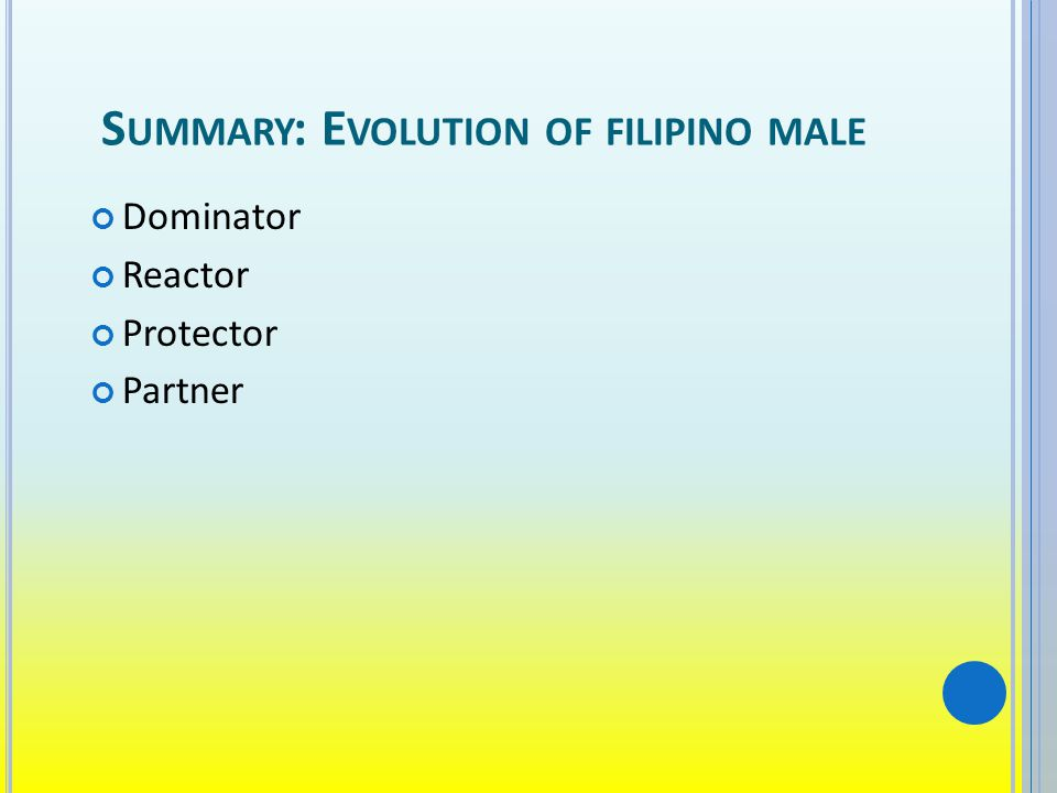 S UMMARY : E VOLUTION OF FILIPINO MALE Dominator Reactor Protector Partner