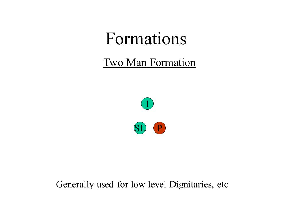 Formations Two Man Formation 1 SLP Generally used for low level Dignitaries, etc