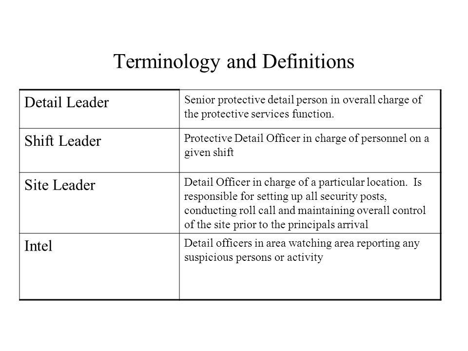 Terminology and Definitions Detail Leader Senior protective detail person in overall charge of the protective services function. Shift Leader Protecti