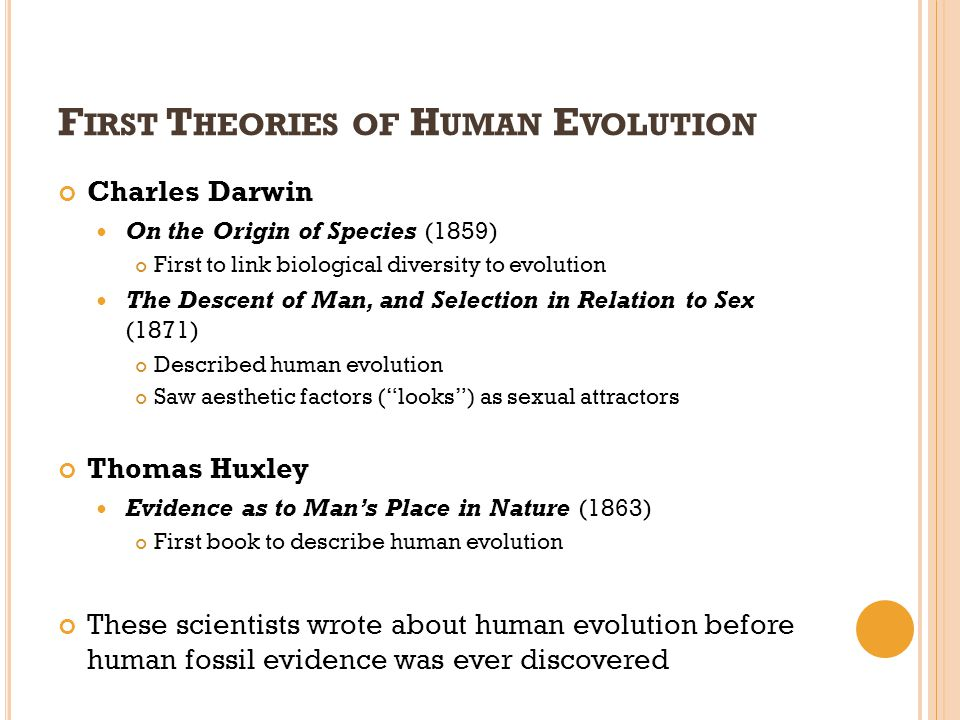 F IRST T HEORIES OF H UMAN E VOLUTION Charles Darwin On the Origin of Species (1859) First to link biological diversity to evolution The Descent of Ma