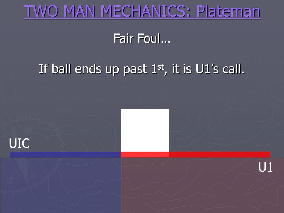 TWO MAN MECHANICS: Plateman Fair Foul… If ball ends up past 1 st, it is U1s call. UIC U1