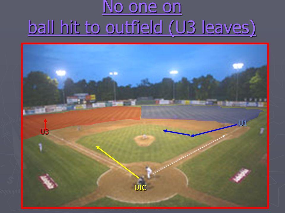 No one on ball hit to outfield (U3 leaves) U1 U3 UIC