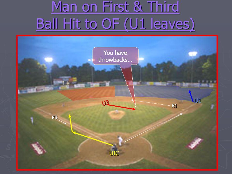 Man on First & Third Ball Hit to OF (U1 leaves) U1 U3 UIC R1 R3 You have throwbacks…
