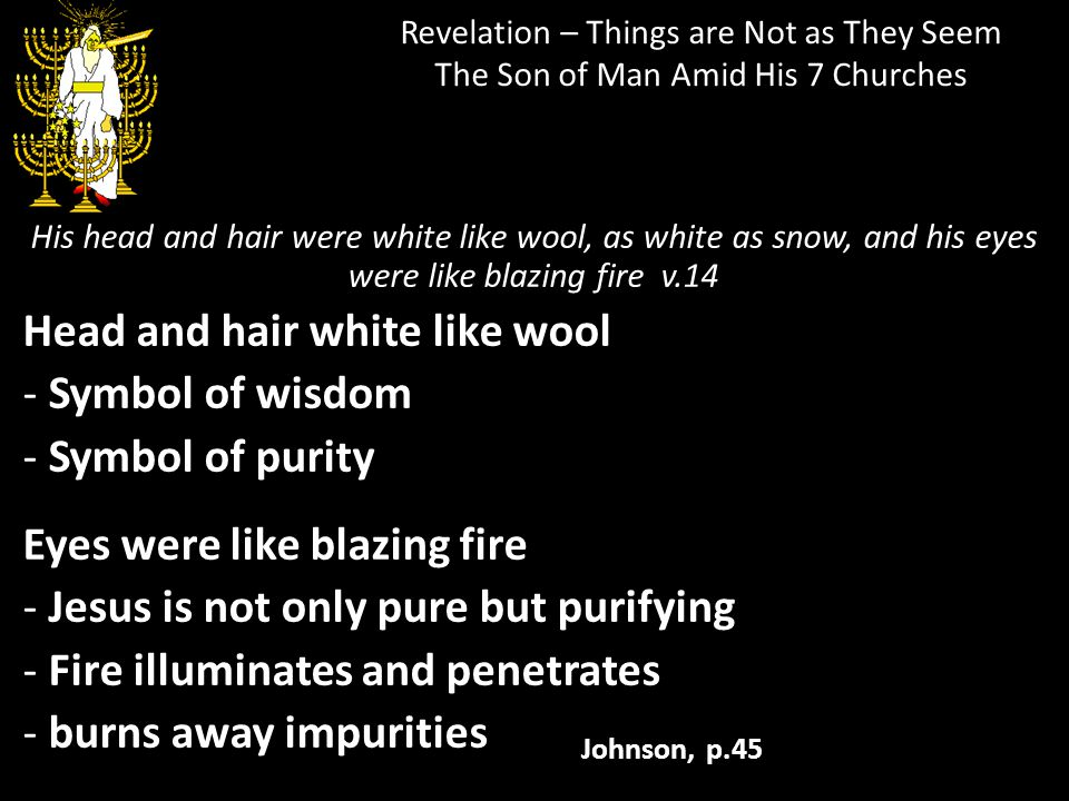 Revelation – Things are Not as They Seem The Son of Man Amid His 7 Churches His head and hair were white like wool, as white as snow, and his eyes wer