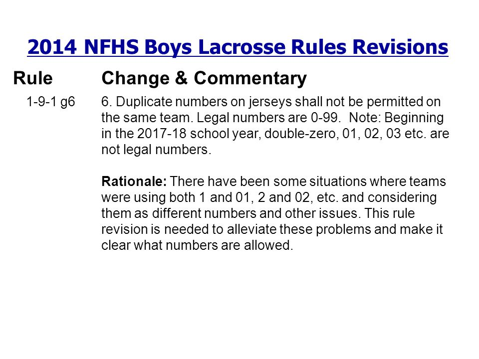 2014 NFHS Boys Lacrosse Rules Revisions RuleChange & Commentary 1-9-1 g6 6. Duplicate numbers on jerseys shall not be permitted on the same team. Lega