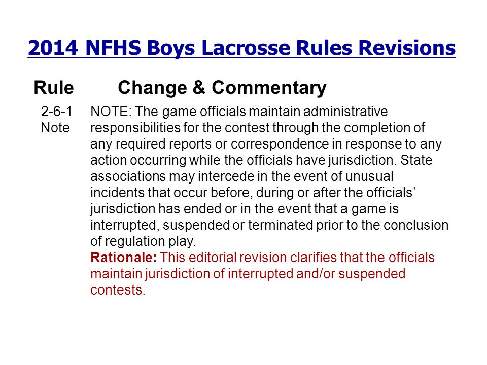 2014 NFHS Boys Lacrosse Rules Revisions RuleChange & Commentary 2-6-1 Note NOTE: The game officials maintain administrative responsibilities for the c