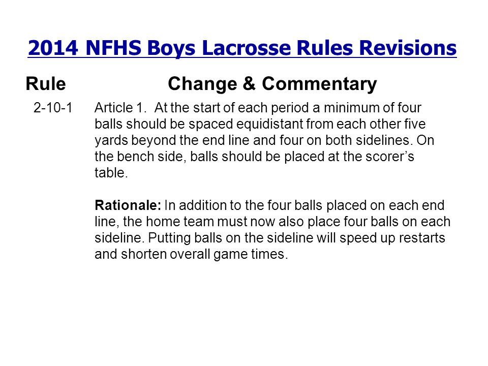 2014 NFHS Boys Lacrosse Rules Revisions RuleChange & Commentary 2-10-1 Article 1. At the start of each period a minimum of four balls should be spaced