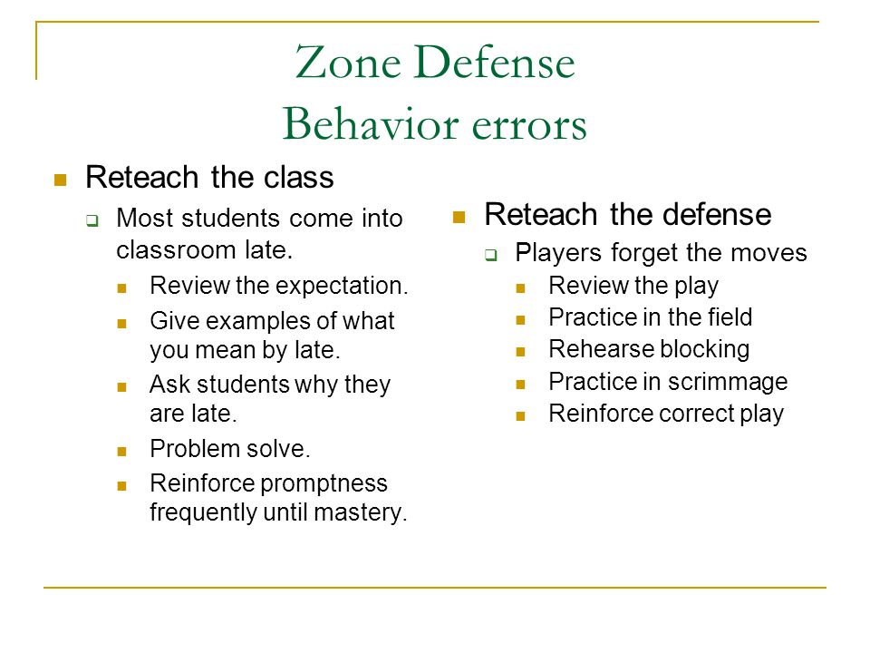 Zone Defense Behavior errors Reteach the class Most students come into classroom late.