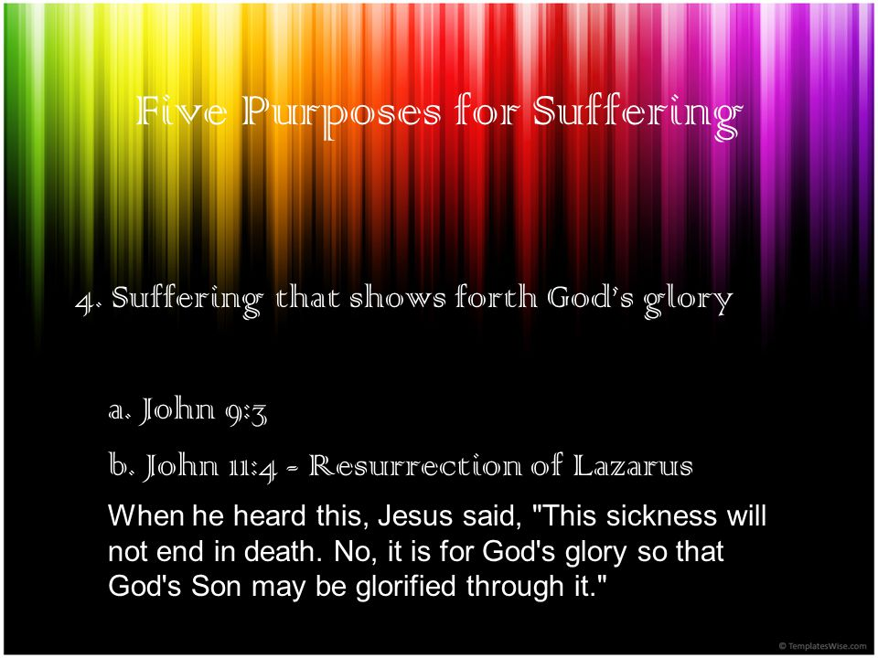 Five Purposes for Suffering 4. Suffering that shows forth Gods glory a.