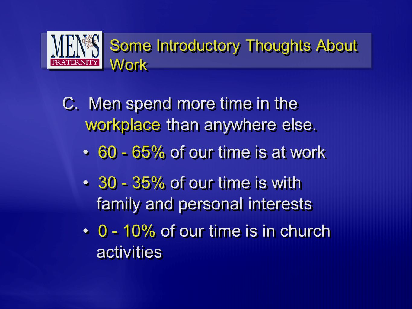 C. Men spend more time in the workplace than anywhere else.