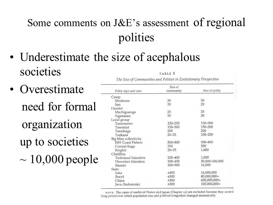 Some comments on J&Es assessment of regional polities Underestimate the size of acephalous societies Overestimate need for formal organization up to s