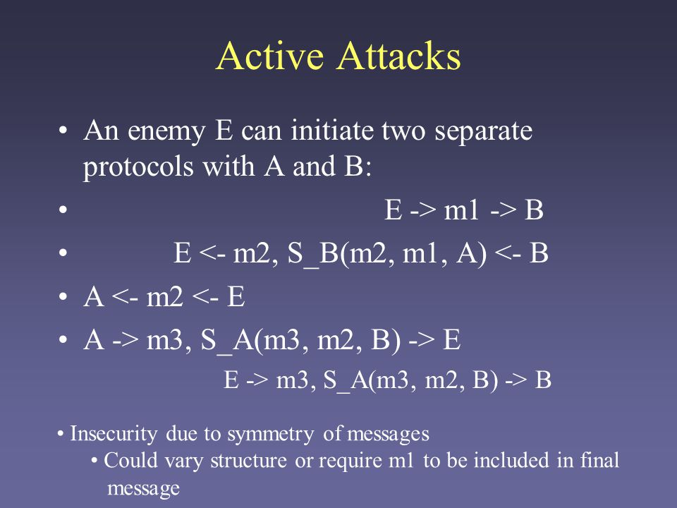 Active Attacks An enemy E can initiate two separate protocols with A and B: E -> m1 -> B E <- m2, S_B(m2, m1, A) <- B A <- m2 <- E A -> m3, S_A(m3, m2, B) -> E E -> m3, S_A(m3, m2, B) -> B Insecurity due to symmetry of messages Could vary structure or require m1 to be included in final message
