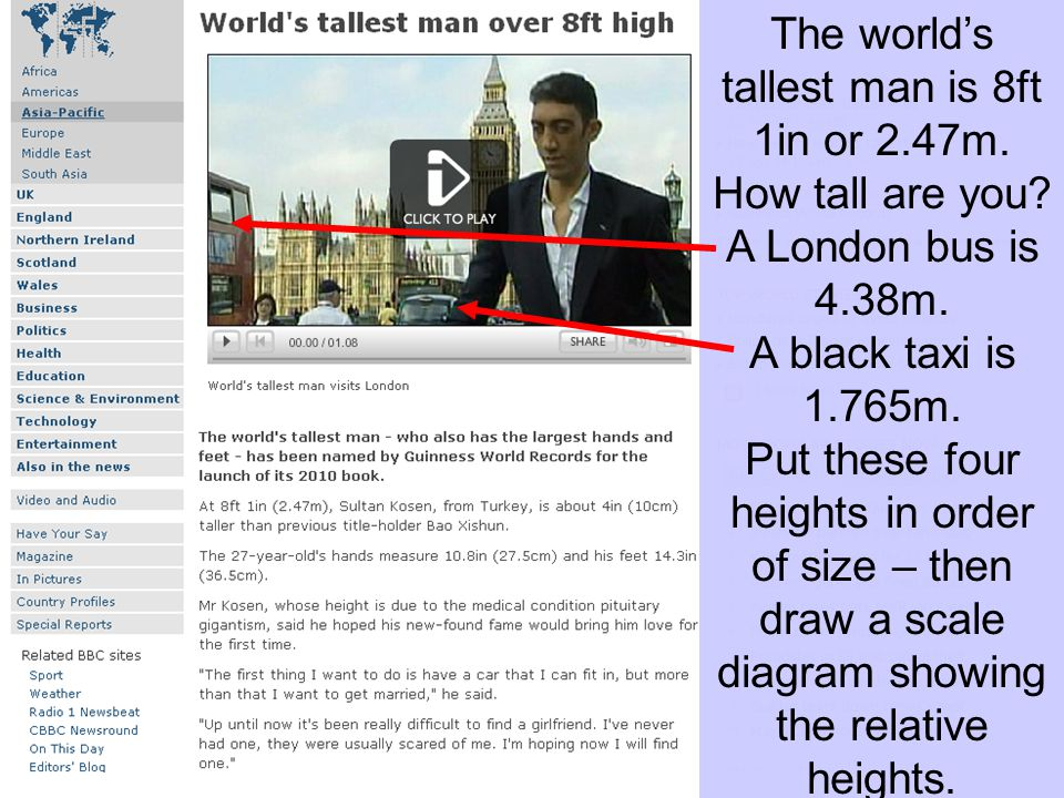 The worlds tallest man is 8ft 1in or 2.47m.How tall are you.
