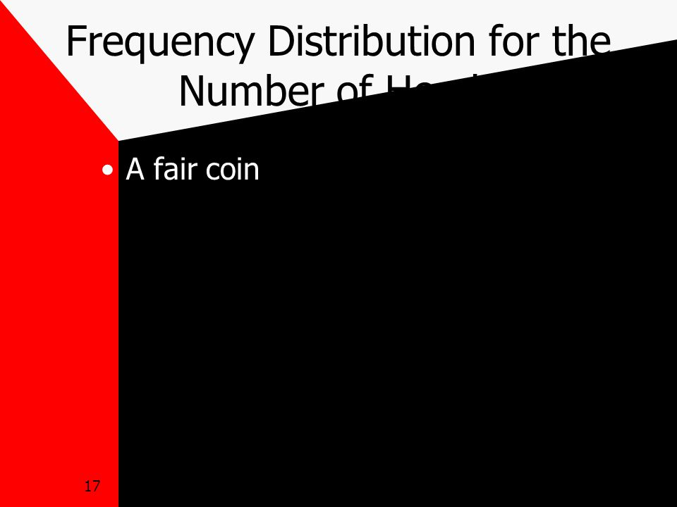 17 Frequency Distribution for the Number of Heads A fair coin