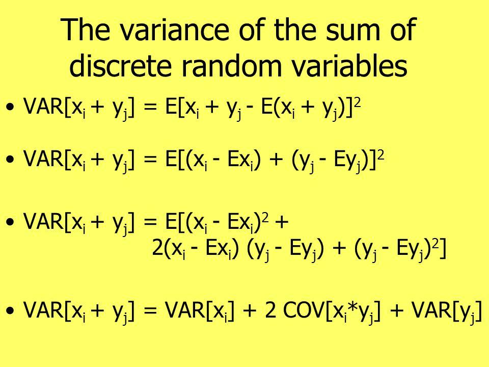 The variance of the sum of discrete random variables VAR[x i + y j ] = E[x i + y j - E(x i + y j )] 2 VAR[x i + y j ] = E[(x i - Ex i ) + (y j - Ey j )] 2 VAR[x i + y j ] = E[(x i - Ex i ) 2 + 2(x i - Ex i ) (y j - Ey j ) + (y j - Ey j ) 2 ] VAR[x i + y j ] = VAR[x i ] + 2 COV[x i *y j ] + VAR[y j ]