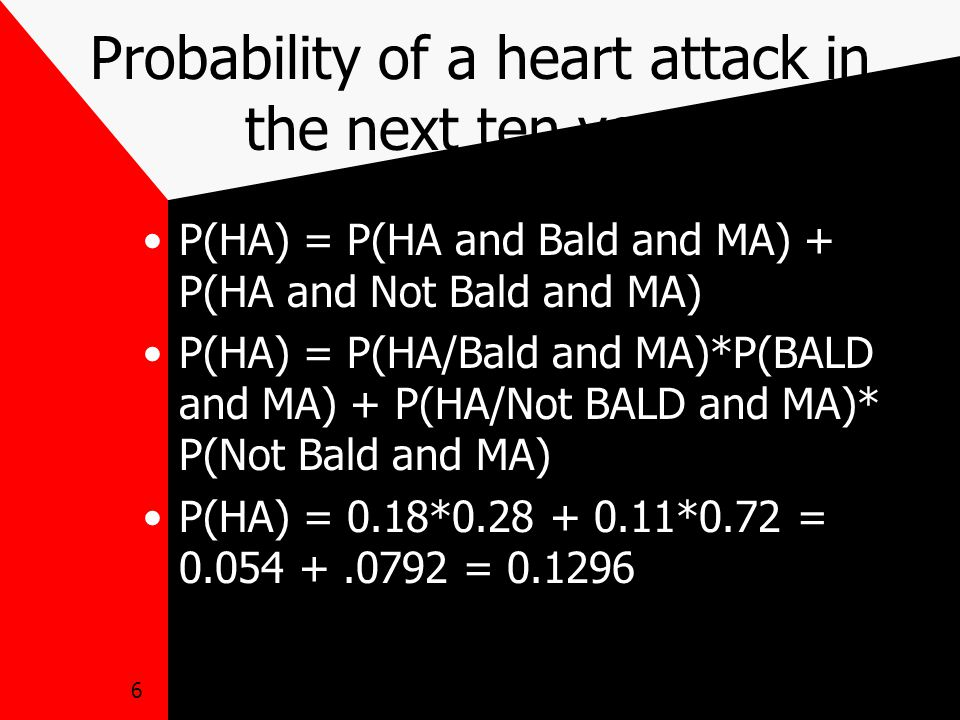 6 Probability of a heart attack in the next ten years P(HA) = P(HA and Bald and MA) + P(HA and Not Bald and MA) P(HA) = P(HA/Bald and MA)*P(BALD and MA) + P(HA/Not BALD and MA)* P(Not Bald and MA) P(HA) = 0.18*0.28 + 0.11*0.72 = 0.054 +.0792 = 0.1296