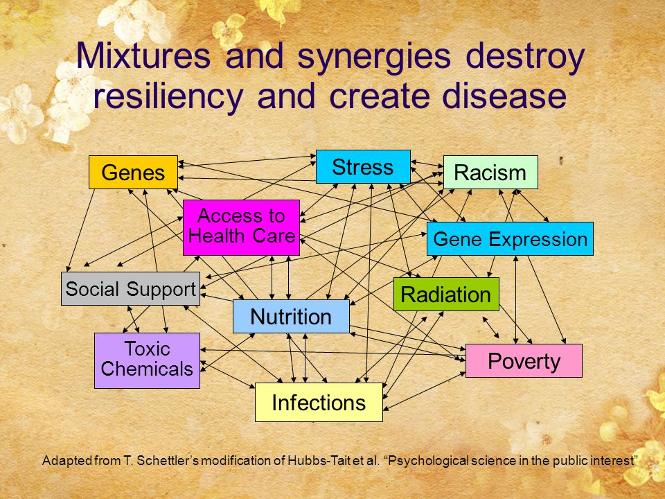 Mixtures and synergies destroy resiliency and create disease Adapted from T.