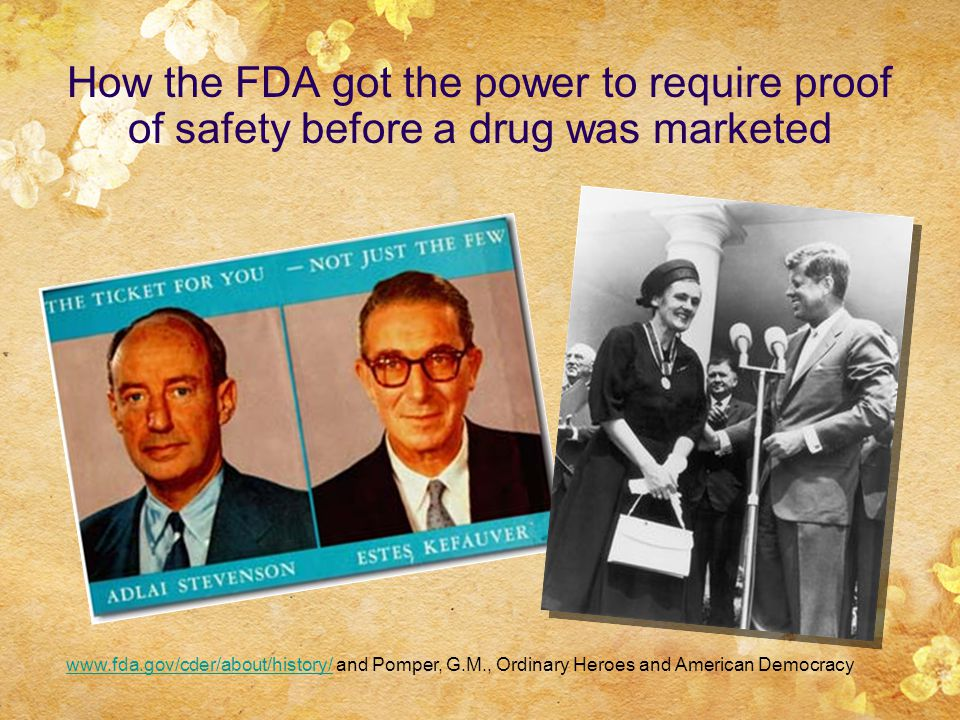 How the FDA got the power to require proof of safety before a drug was marketed www.fda.gov/cder/about/history/www.fda.gov/cder/about/history/ and Pomper, G.M., Ordinary Heroes and American Democracy