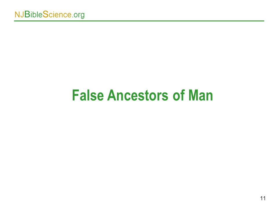 NJ B ible S cience.org 11 False Ancestors of Man