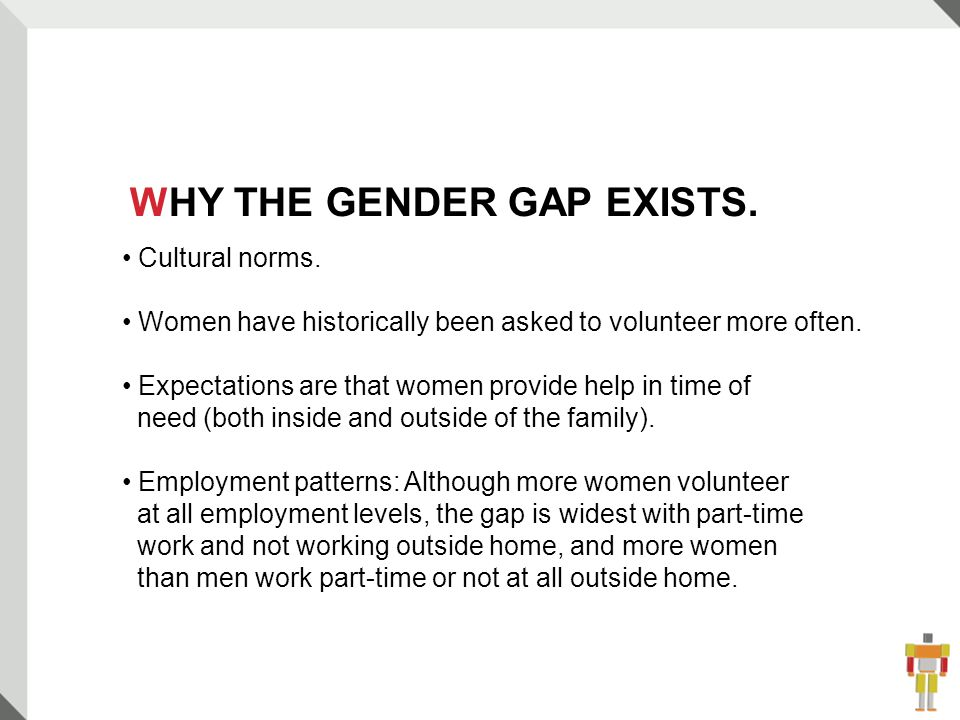 11 Cultural norms. Women have historically been asked to volunteer more often.