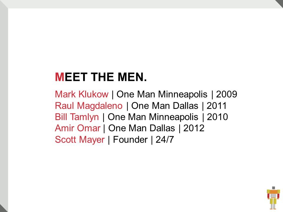 3 MEET THE MEN.