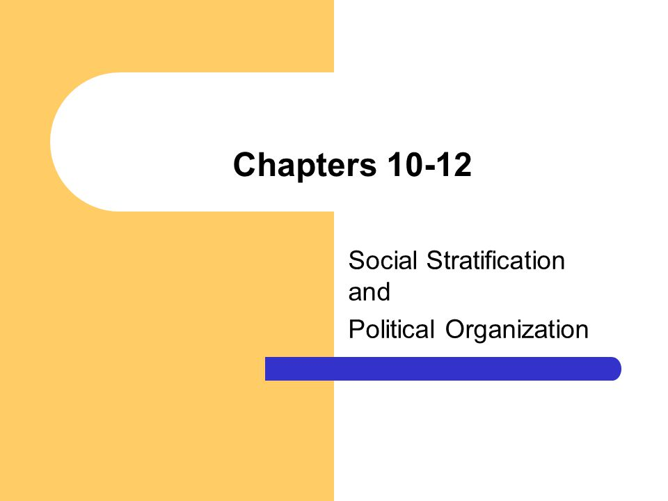 Chapters 10-12 Social Stratification and Political Organization