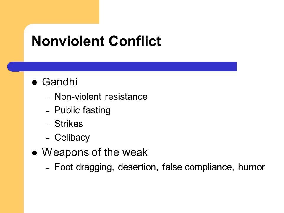 Nonviolent Conflict Gandhi – Non-violent resistance – Public fasting – Strikes – Celibacy Weapons of the weak – Foot dragging, desertion, false compli