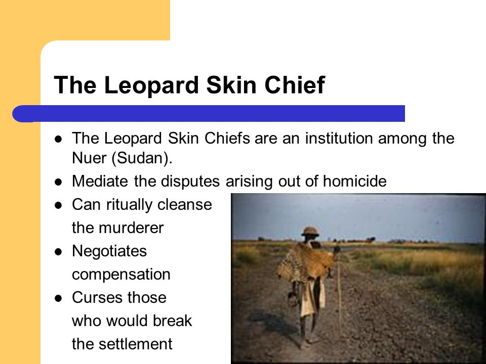 The Leopard Skin Chief The Leopard Skin Chiefs are an institution among the Nuer (Sudan). Mediate the disputes arising out of homicide Can ritually cl