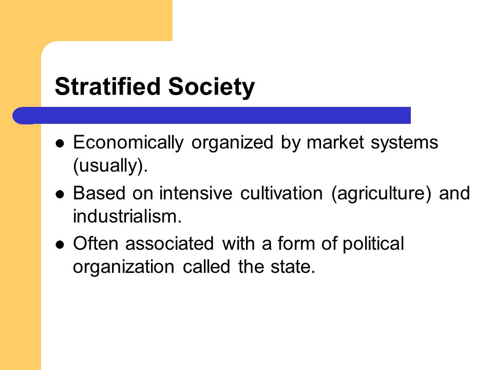 Stratified Society Economically organized by market systems (usually). Based on intensive cultivation (agriculture) and industrialism. Often associate