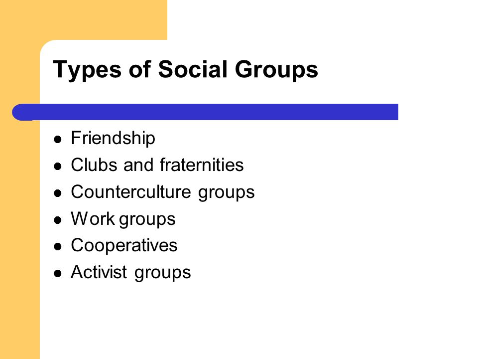 Types of Social Groups Friendship Clubs and fraternities Counterculture groups Work groups Cooperatives Activist groups