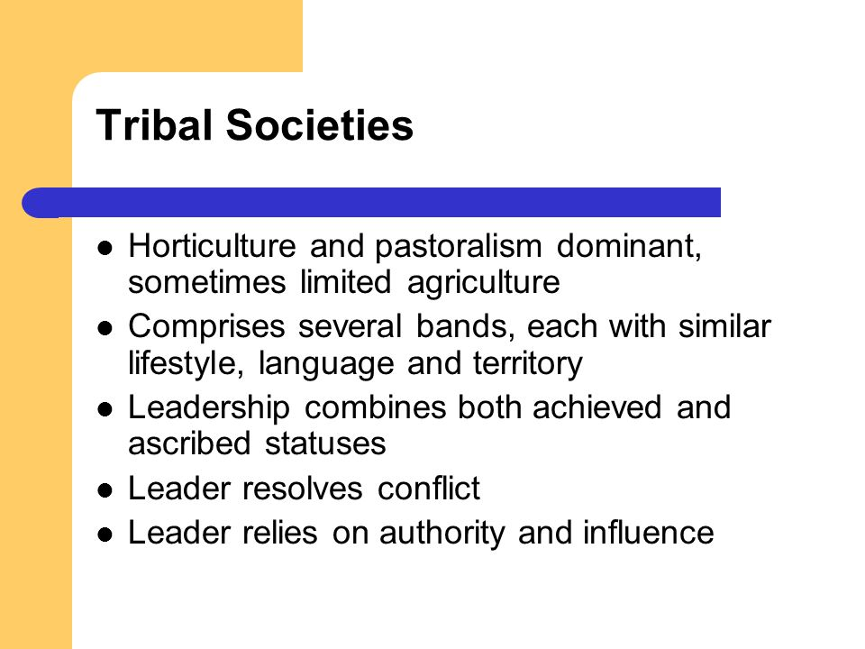 Tribal Societies Horticulture and pastoralism dominant, sometimes limited agriculture Comprises several bands, each with similar lifestyle, language a