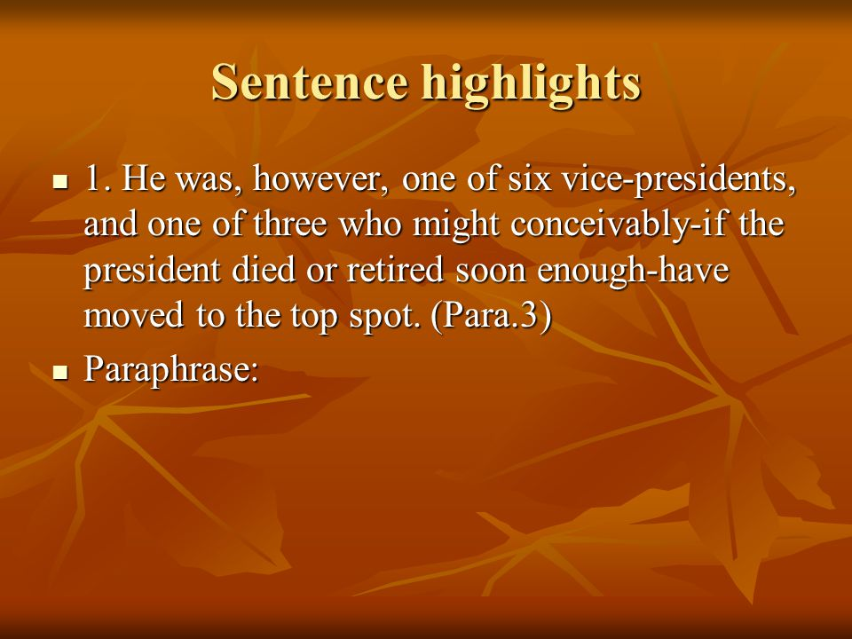 Sentence highlights 1.