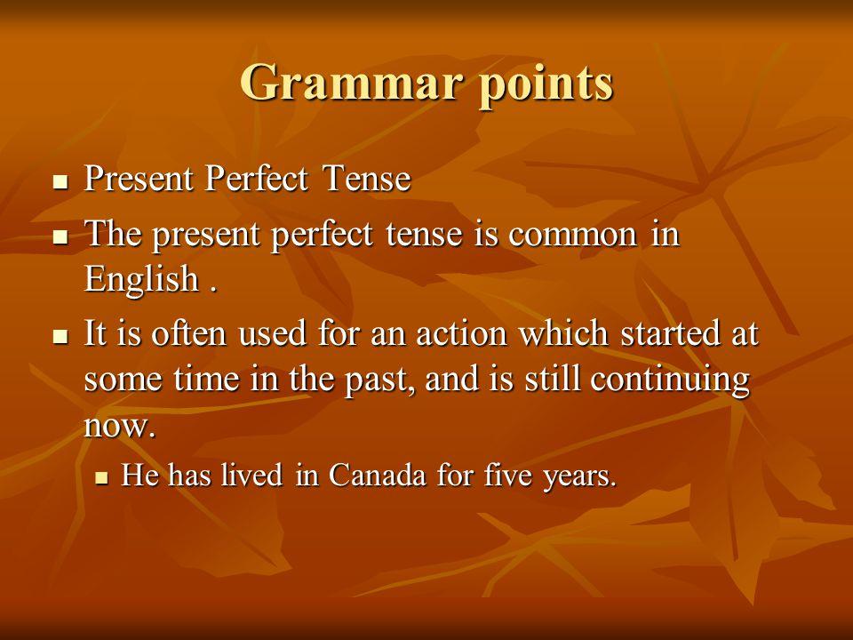 Grammar points Present Perfect Tense Present Perfect Tense The present perfect tense is common in English.
