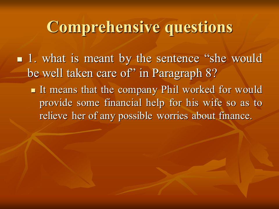 Comprehensive questions 1.