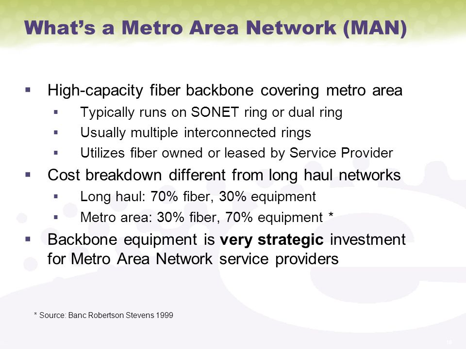 18 Whats a Metro Area Network (MAN) High-capacity fiber backbone covering metro area Typically runs on SONET ring or dual ring Usually multiple interconnected rings Utilizes fiber owned or leased by Service Provider Cost breakdown different from long haul networks Long haul: 70% fiber, 30% equipment Metro area: 30% fiber, 70% equipment * Backbone equipment is very strategic investment for Metro Area Network service providers * Source: Banc Robertson Stevens 1999