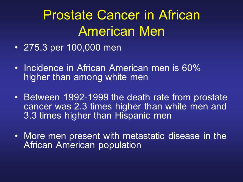 Prostate Cancer in African American Men per 100,000 men Incidence in African American men is 60% higher than among white men Between the death rate from prostate cancer was 2.3 times higher than white men and 3.3 times higher than Hispanic men More men present with metastatic disease in the African American population