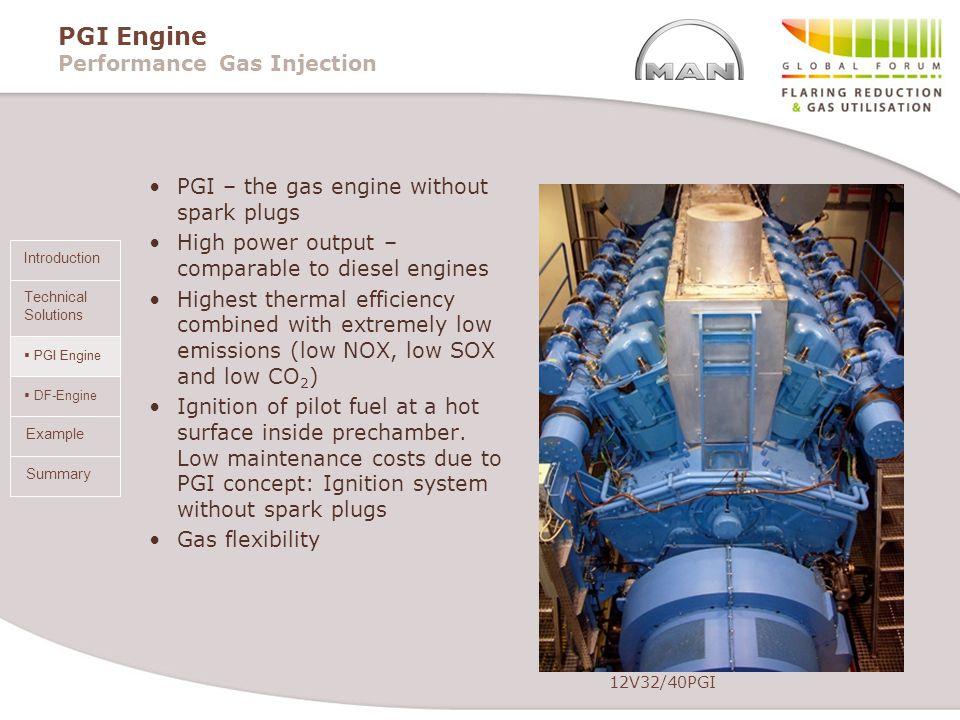PGI Engine DF-Engine Summary Introduction Technical Solutions Example PGI Engine Performance Gas Injection PGI – the gas engine without spark plugs Hi