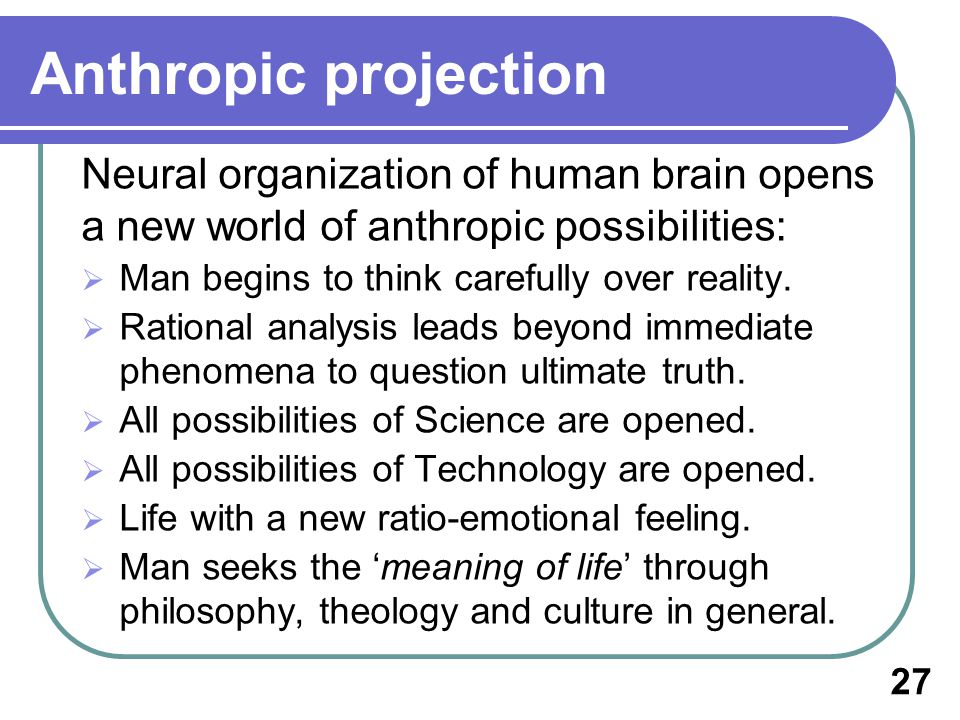 Anthropic projection Neural organization of human brain opens a new world of anthropic possibilities: Man begins to think carefully over reality.
