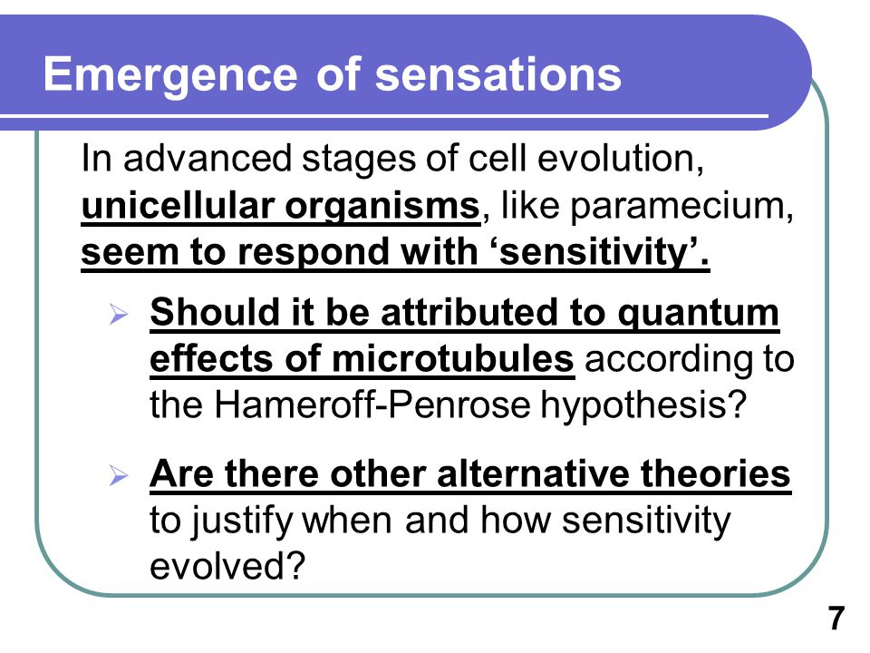 In advanced stages of cell evolution, unicellular organisms, like paramecium, seem to respond with sensitivity.