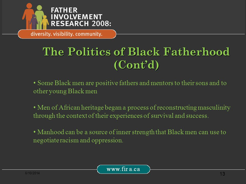 6/10/2014 13 The Politics of Black Fatherhood (Contd) Some Black men are positive fathers and mentors to their sons and to other young Black men Men of African heritage began a process of reconstructing masculinity through the context of their experiences of survival and success.
