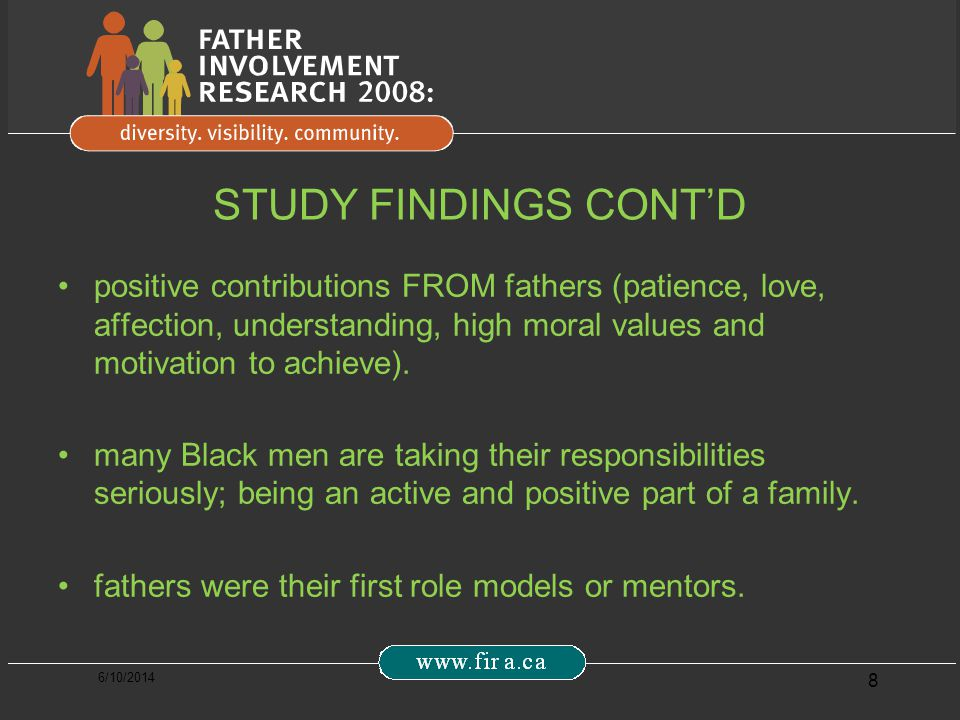 6/10/2014 8 STUDY FINDINGS CONTD positive contributions FROM fathers (patience, love, affection, understanding, high moral values and motivation to achieve).
